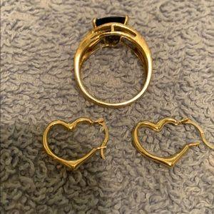 Tiny 14k heart hoops